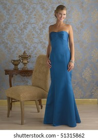 Fashion model wearing evening gown.