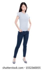 Modemodell mit Jeans-Shirt mit Emotionen