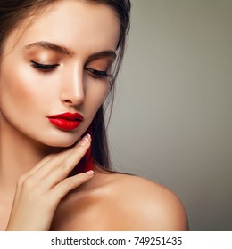 Fashion Model Woman with Perfect Makeup, Closed eyes. Female Face Closeup