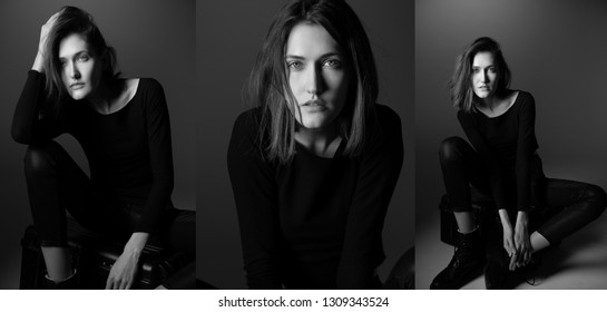 Fashion model. Young woman posing in studio wearing black with boots. Beautiful caucasian girl over gray background. Black and white