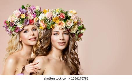 Fashion Models Flowers Wreath in Hairstyle, Two Beautiful Women Beauty Portrait, Rose Flower in Hair