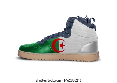 Fashion modern rubber fitnes snickers with flag of Algeria isolated on white background