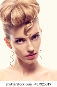 Fashion mohawk hairstyle, natural makeup. Beauty woman. Blonde nude sexy model girl, eyelashes, perfect skin. Creative unusual. Skincare concept