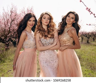 fashion outdoor photo of beautiful women in luxurious dresses posing among flowering peach trees