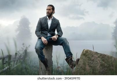 Fashion outdoor photo of elegant stylish model
