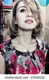 Fashion photo of beautiful retro styled woman with magnificent hair