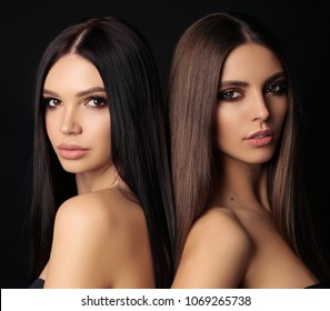 fashion photo of beautiful women with luxurious long dark hair posing in studio