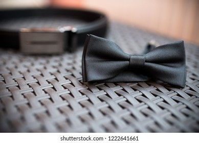 Fashion photo of bowtie and cufflinks, Classic groom accessories