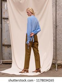 Fashion photo , girl model , stylish look.Street style and studio photography.