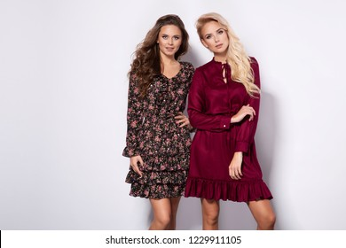 Fashion photo of two beautiful elegant young women in a pretty dress with flowers, red hat holding handbag posing over white background. Fashion autumn summer photo.
