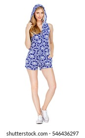 Fashion photo of young magnificent woman wearing fashionable summer clothes
