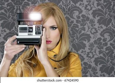fashion photographer retro camera reporter woman vintage wallpaper yellow coat