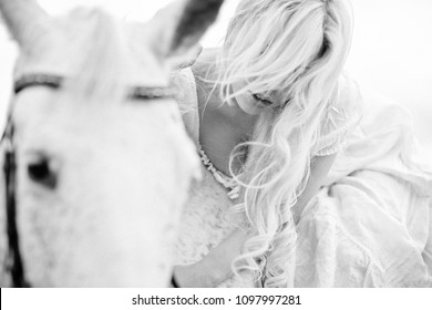 Fashion photography of blonde girl