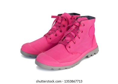 fashion pink boots isolated on white color background
