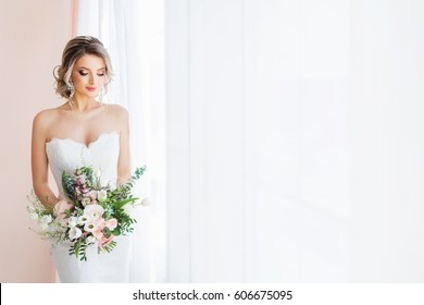 Fashion portrait of a beautiful bride