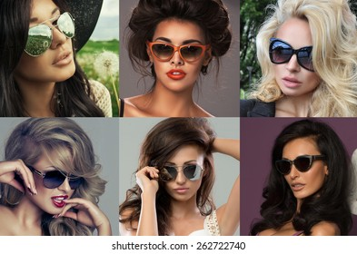 Fashion portrait of a beautiful brunette woman with shot hairstyle with  sunglasses - studio photo