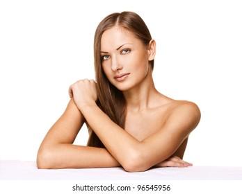 fashion portrait of a beautiful female model isolated on white background