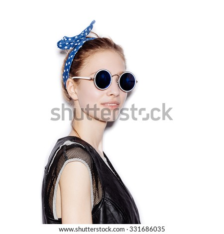 1f2bc8c99b3 Fashion portrait of beautiful girl wearing sunglasses. Close-up of cute  woman face. Not isolated on white background - Image