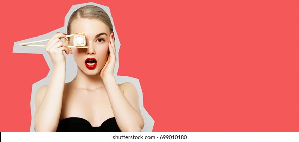 Fashion Portrait Of Beauty Model Girl With Perfect Face Makeup. Diet concept. Nutrition. Beautiful Smiling Woman Eating Sushi Roll With Chopsticks. Pop art