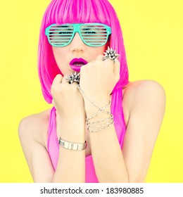 Fashion portrait of a bright girl.  Style swag