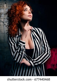 Fashion Portrait. Curly Hair Girl in Interer.