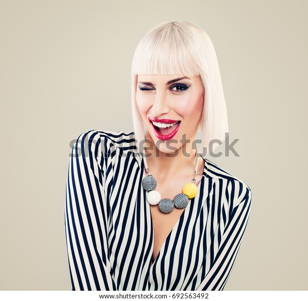 Fashion Portrait of Cute Woman Fashion Model with Blonde Hair on Banner Background
