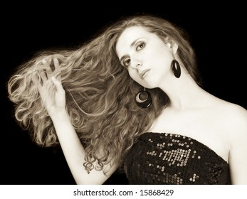 fashion portrait of a girl with long blond hair