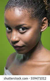 Fashion Portrait of Glossy African American Woman