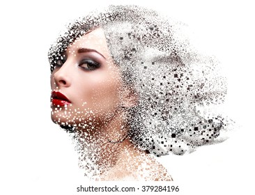 Fashion portrait of makeup woman face with pixel dispersion effect. Art closeup portrait isolated on white background