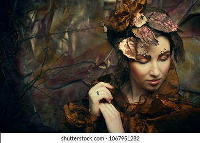 Fashion portrait of romantic beautiful girl with hairstyle, red lips, art dress.Princess in mistery house. Creative concept Once upon a time in fantasy.
