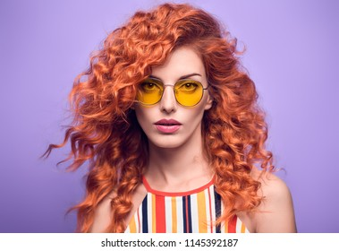 f747de3d6c7a Fashion Portrait Sensual Redhead Girl with Shiny Wavy Curly Hairstyle in  Studio. Beautiful woman in