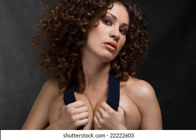 Fashion portrait of sexy brunette girl with beautiful hair