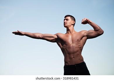 Fashion portrait of a sporty, athletic, muscular sexy man