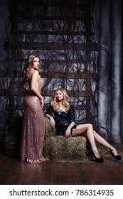 Fashion portrait of two elegant women in shiny evening dresses in a rustic interior with hay.