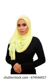 Fashion Portrait of young beautiful Asian Muslim woman wearing Hijab on white background