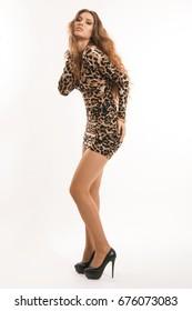 Fashion portrait of young brunette girl in leopard dress