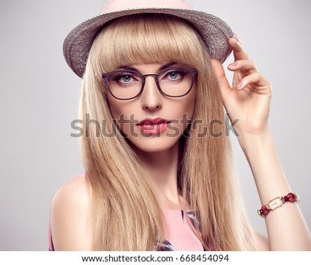 ac07d88d2 Fashion Portrait Young Woman Stylish Glasses Stock Photo (Edit Now ...