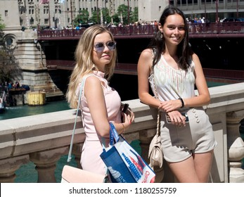 Fashion portrait of young women in Chicago