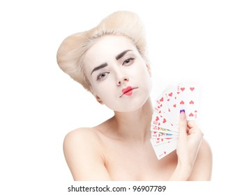 fashion queen of hearts with maps, on a white background