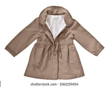 Fashion raincoat (coat) for baby-girl isolated on white background for spring and summer wardrobe/ Baby clothes/ Close-up/ Top view