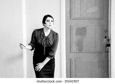 Fashion retro styled woman portrait