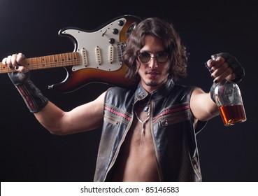 fashion rocker with an electric guitar
