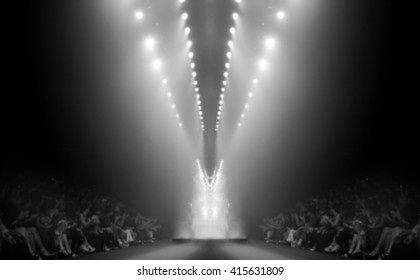 Fashion runway out of focus in black and white,blur background
