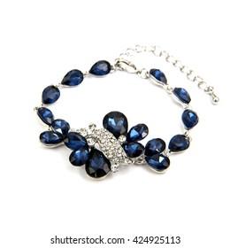 Fashion sapphire Bracelet isolated on white