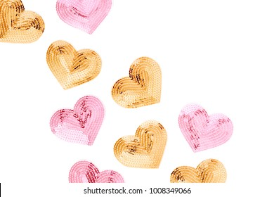 Fashion sequin heart.  Valentines day background