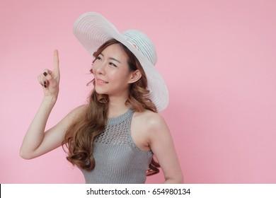 Fashion set sweet pink sexy girl, Korean woman in summer fashion on pink background, Asian beautiful girl