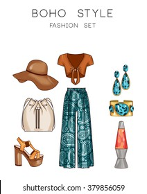 Fashion set of woman's clothes and accessories - Hippie style fashion set
