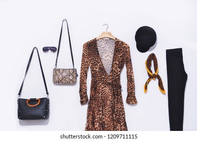 Fashion set of woman's sundress clothes in snake pattern sundress, accessories, on white studio background