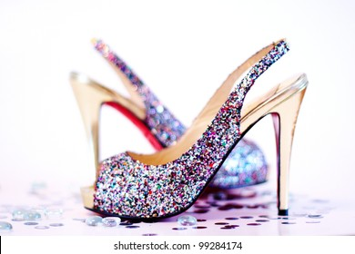 Fashion sexy high heel shoes on white studio background