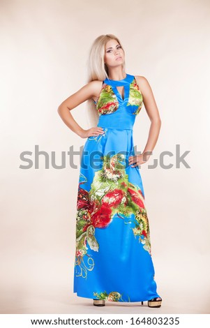 abf97b8d53d8 Fashion sexy woman in colorful summer dress. Vogue style woman in studio. Glamour  girl